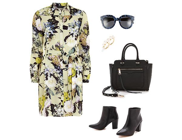 Floral Shirt Dress & Winter Accessories