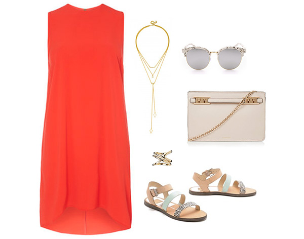 Skirt The Rules // Bright Orange Dress & Strappy Sandals