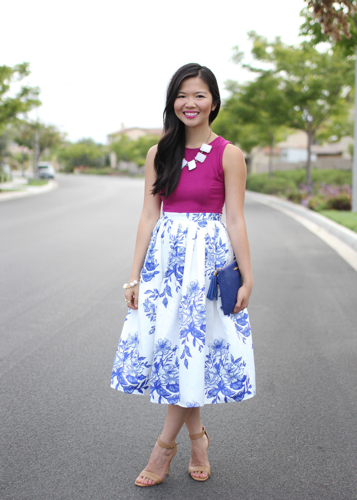 Skirt The Rules // Blue & White Floral Midi Skirt