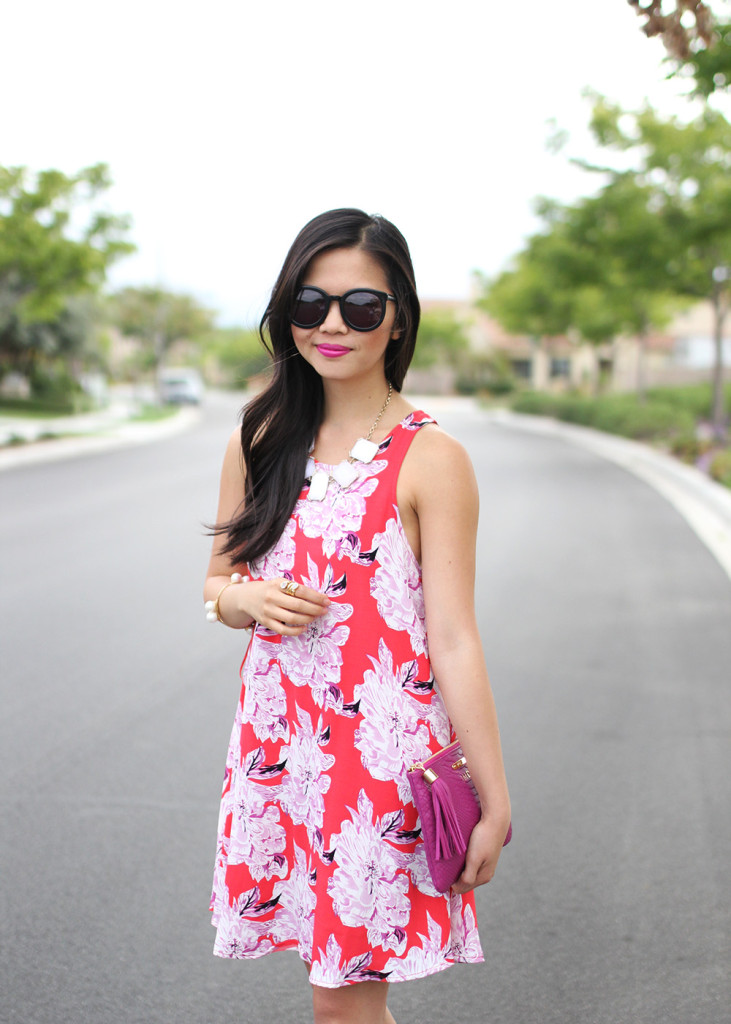 Skirt The Rules // Red Floral Summer Dress & Purple Clutch