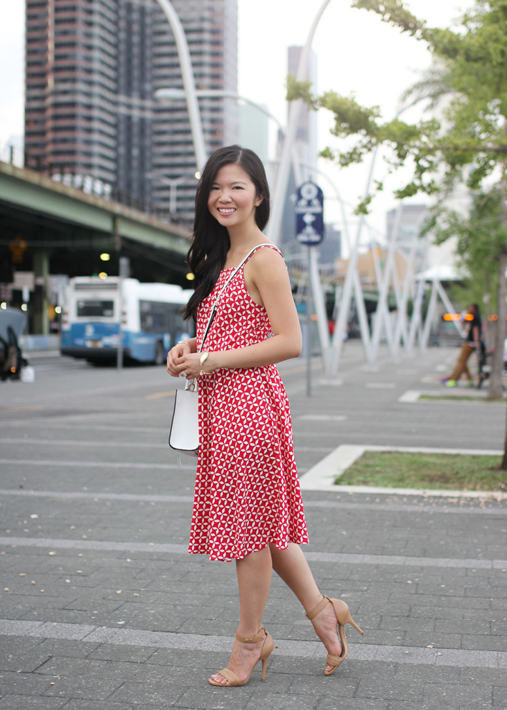 Skirt The Rules // Red and White Printed Sundress