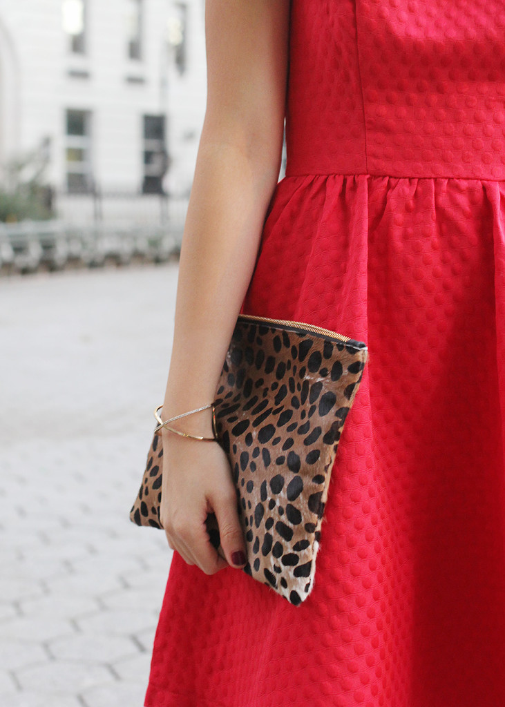 Skirt The Rules // Red Dress & Leopard Clutch