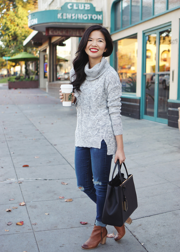 Skirt The Rules / Grey Turtleneck Sweater & Skinny Jeans