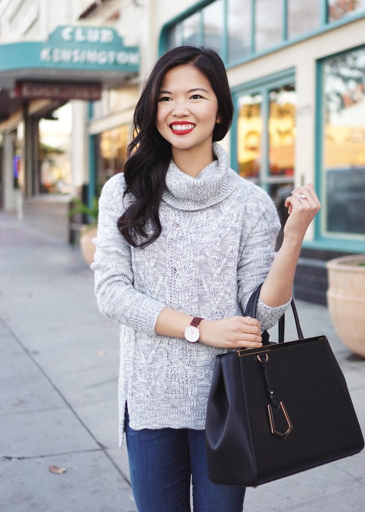 Skirt The Rules / Grey Turtleneck & Skinny Jeans