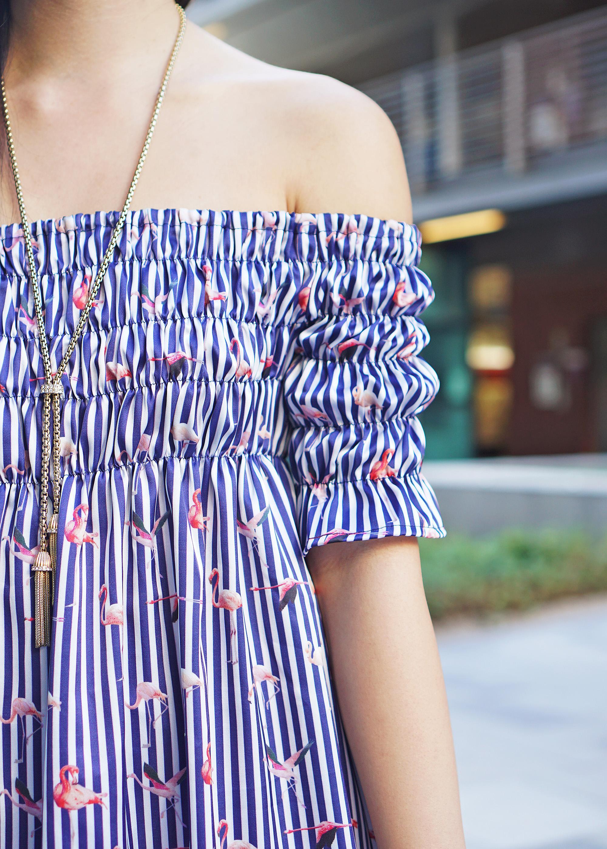 0f58bdb0d0d1 Flamingo Off the Shoulder Dress - Skirt The Rules