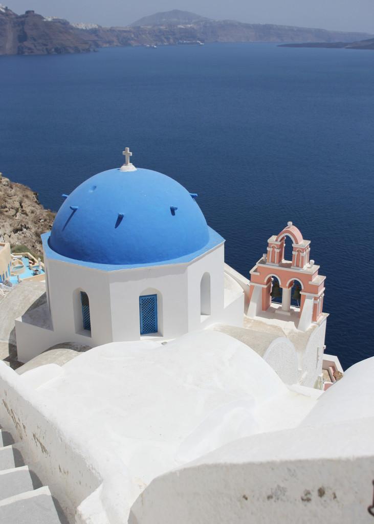 Blue Dome Churches In Santorini Greece Skirt The Rules