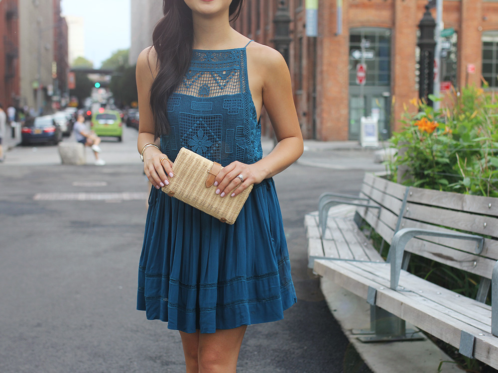 Skirt The Rules / Teal Crochet Dress