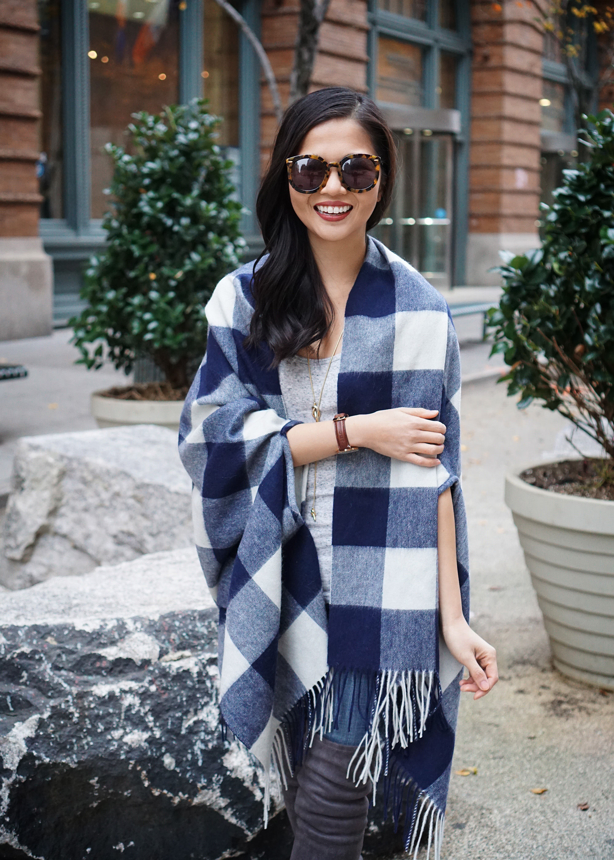 Skirt The Rules / Buffalo Check Poncho