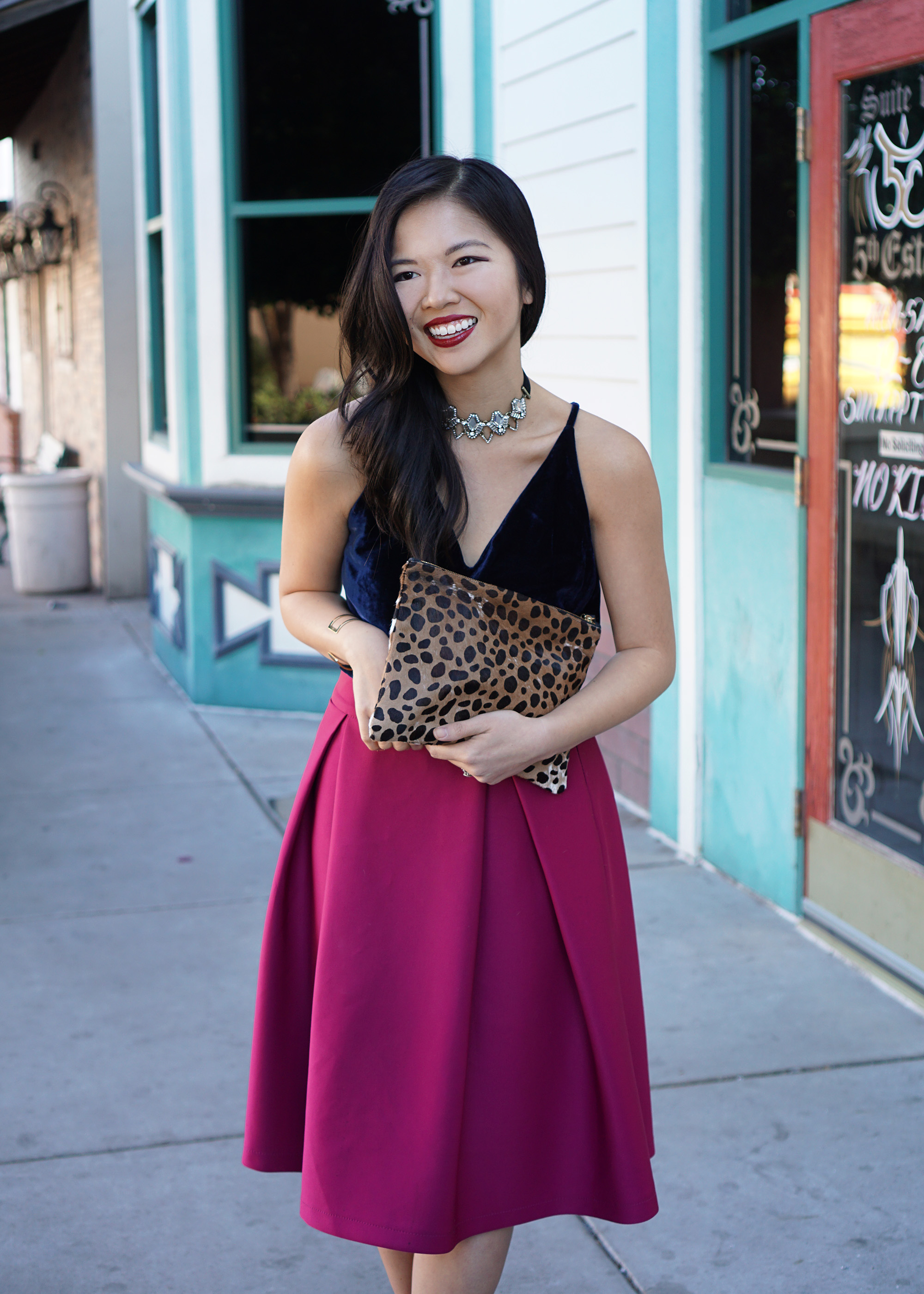 Navy & Fuschia Holiday Party Outfit