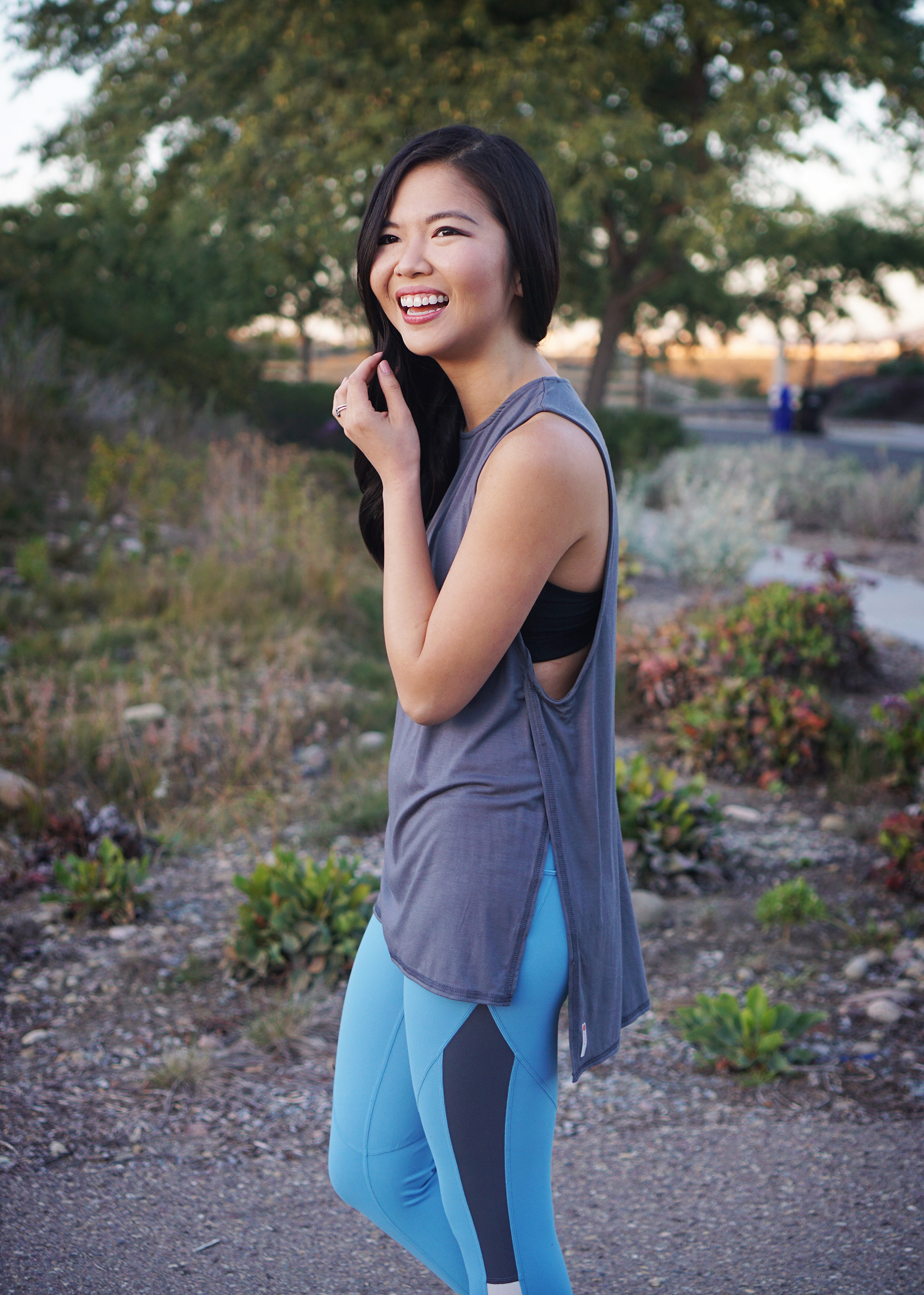 Cute Workout Clothes / Grey Cutout Muscle Tank