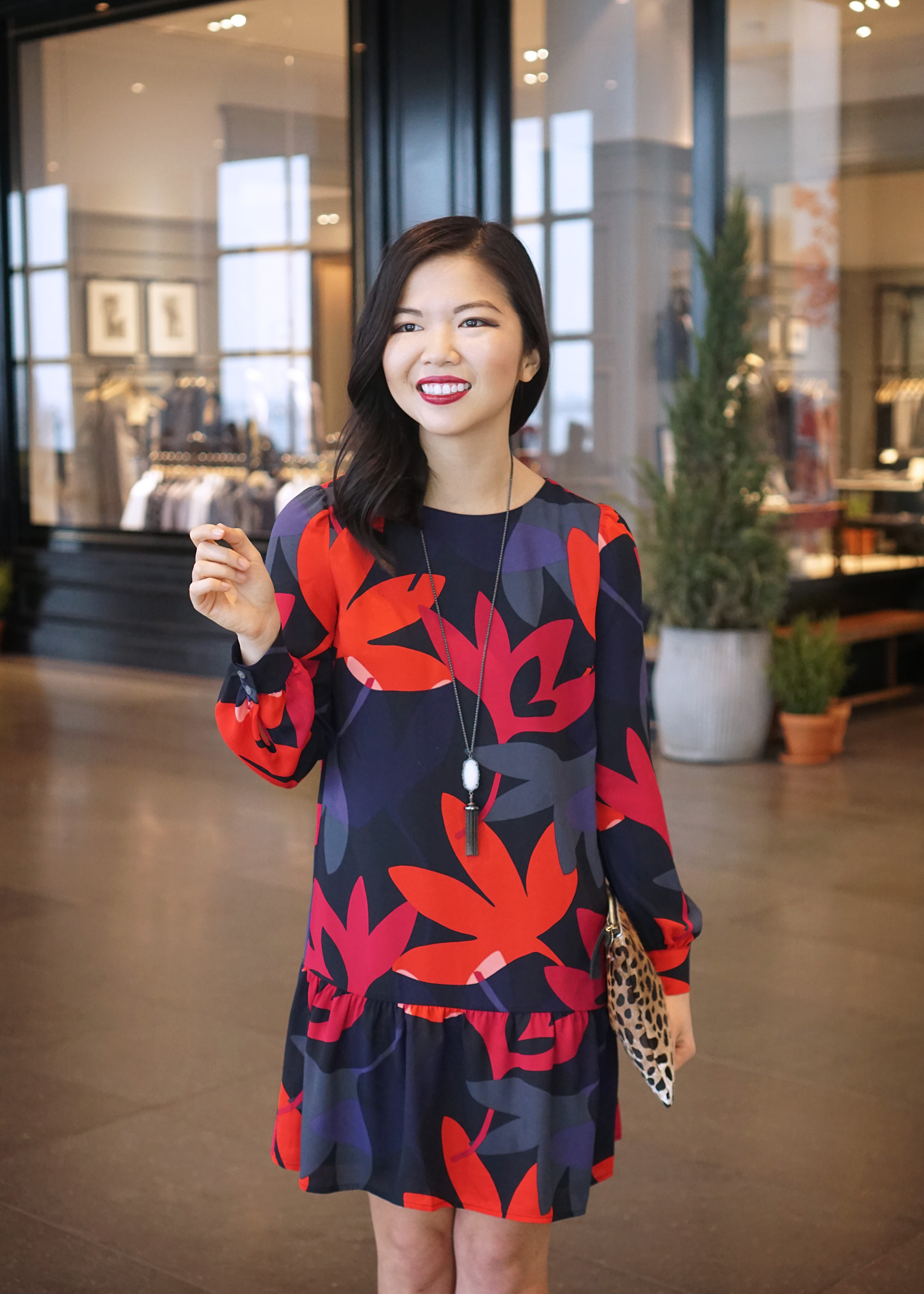 Skirt The Rules / Floral Print Long Sleeve Dress