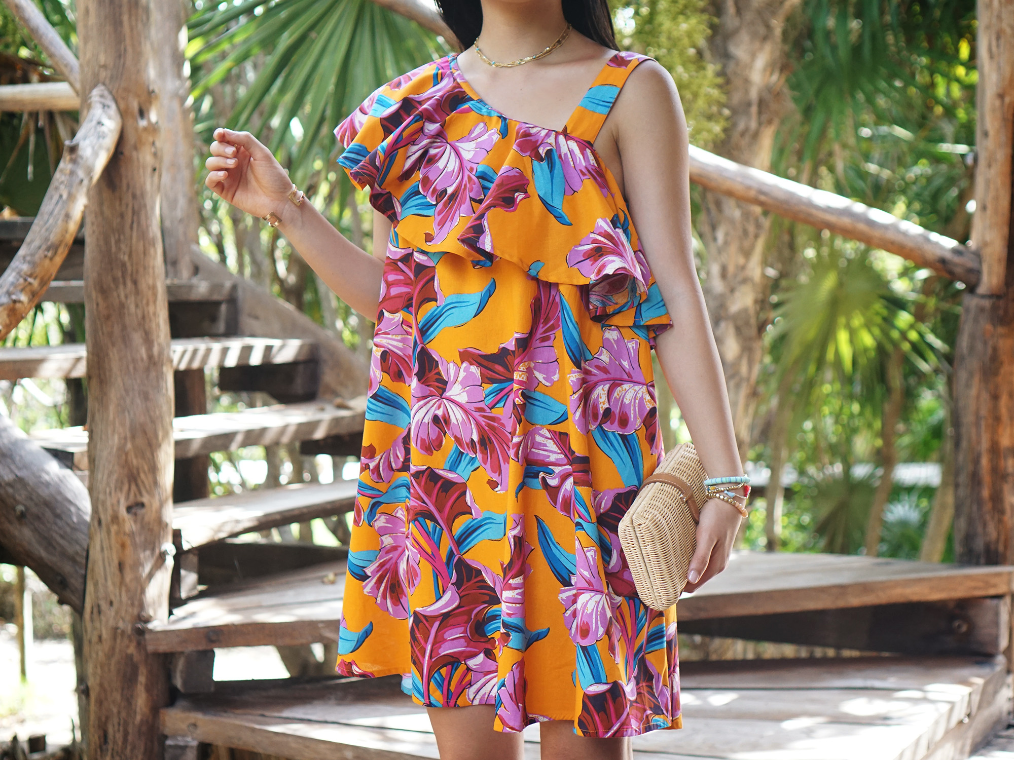 Summer Style / Orange Floral Print Dress
