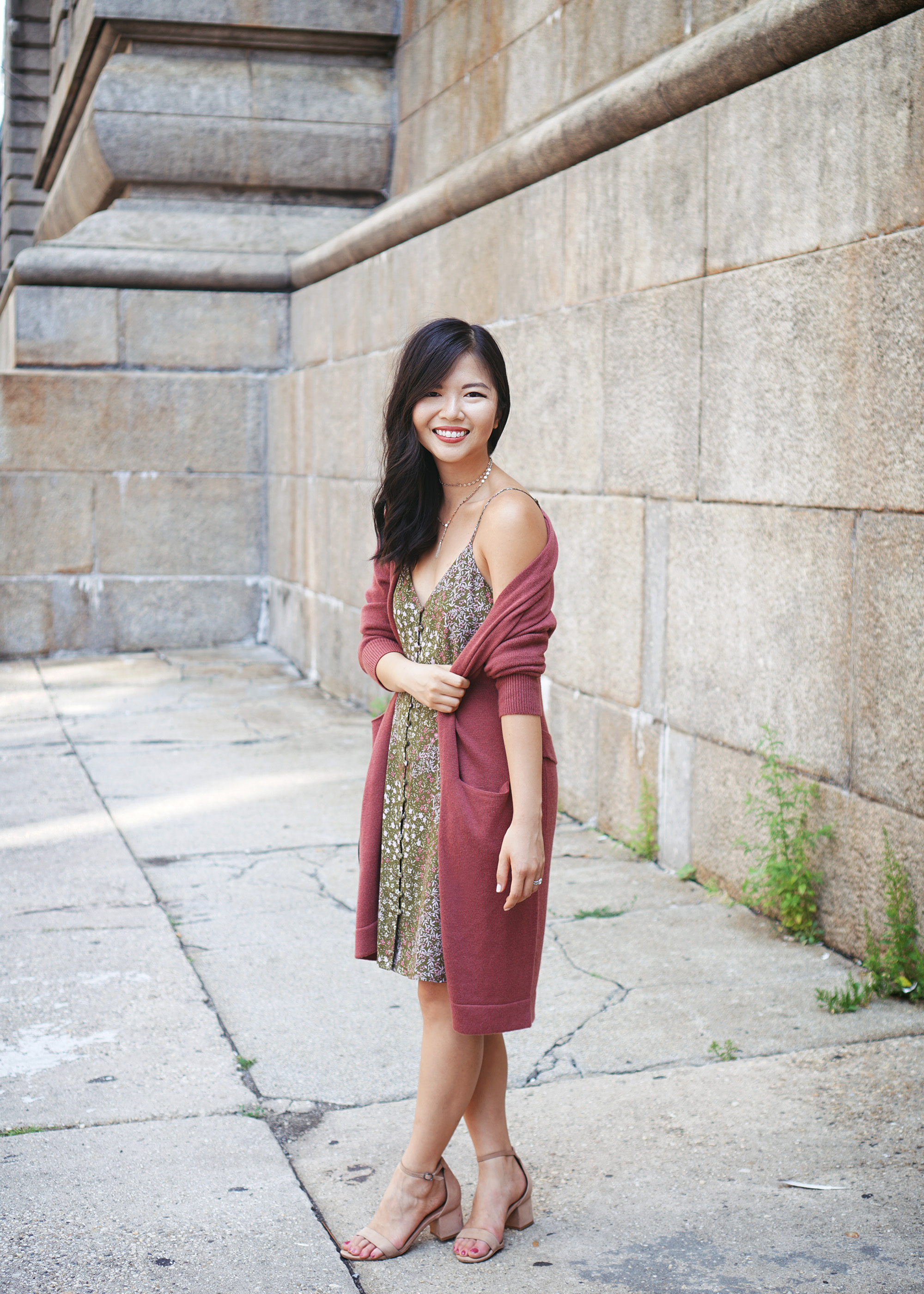 Fall Outfit Inspiration: Long Cardigan & Floral Slip Dress