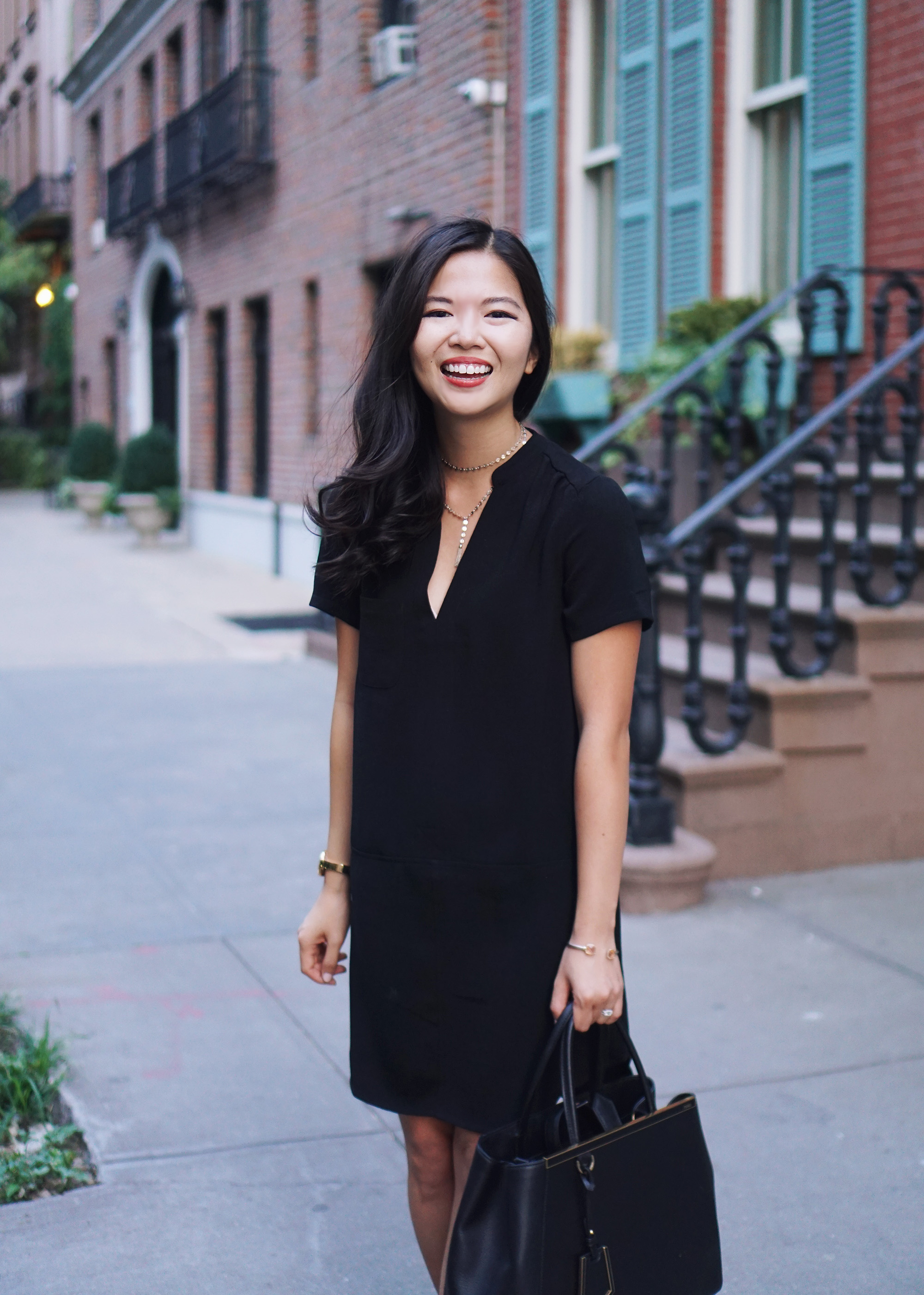 Office Style: Black Short Sleeve Dress