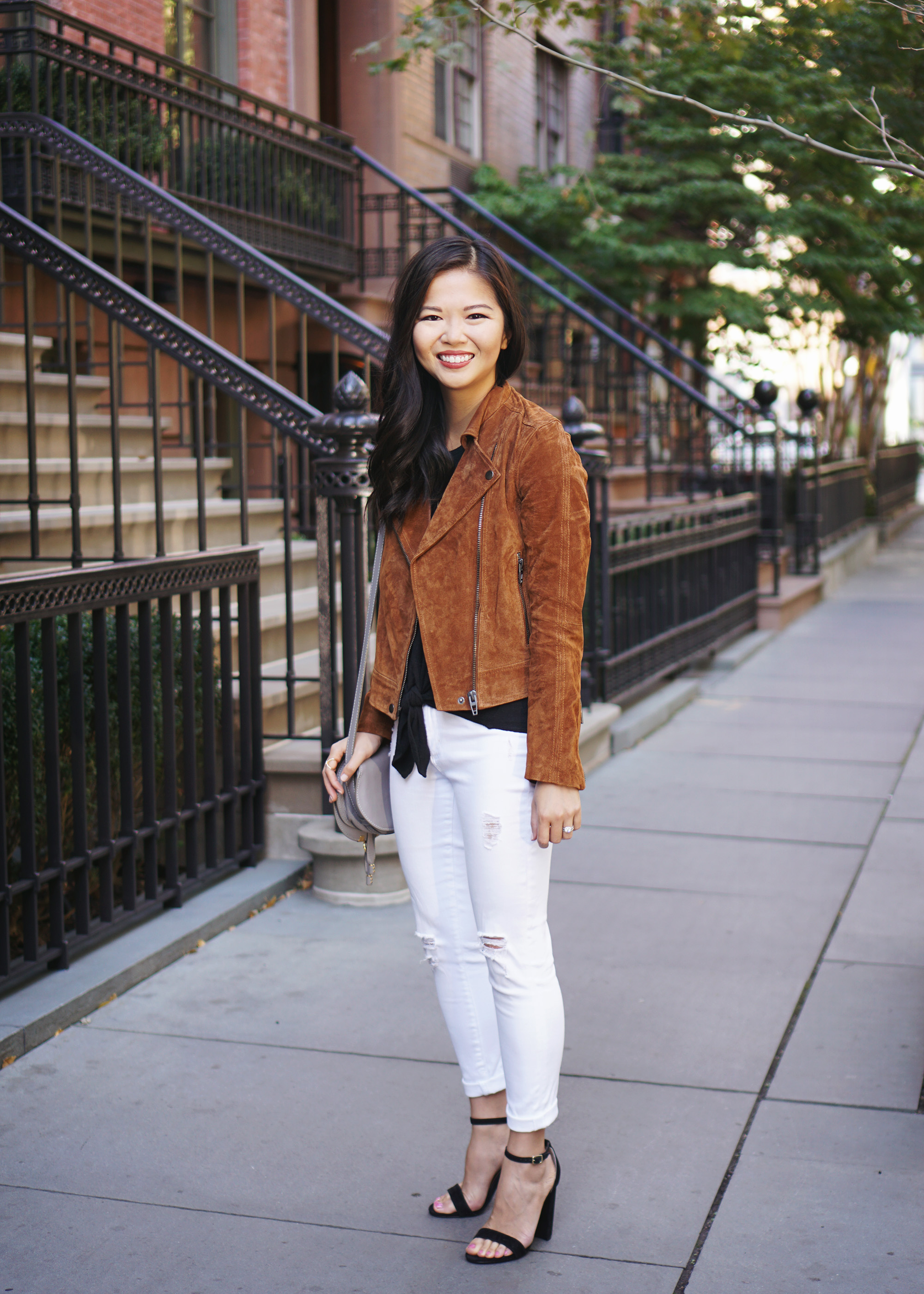 Fall Outfit Inspiration: What to Wear with a Brown Suede Moto Jacket