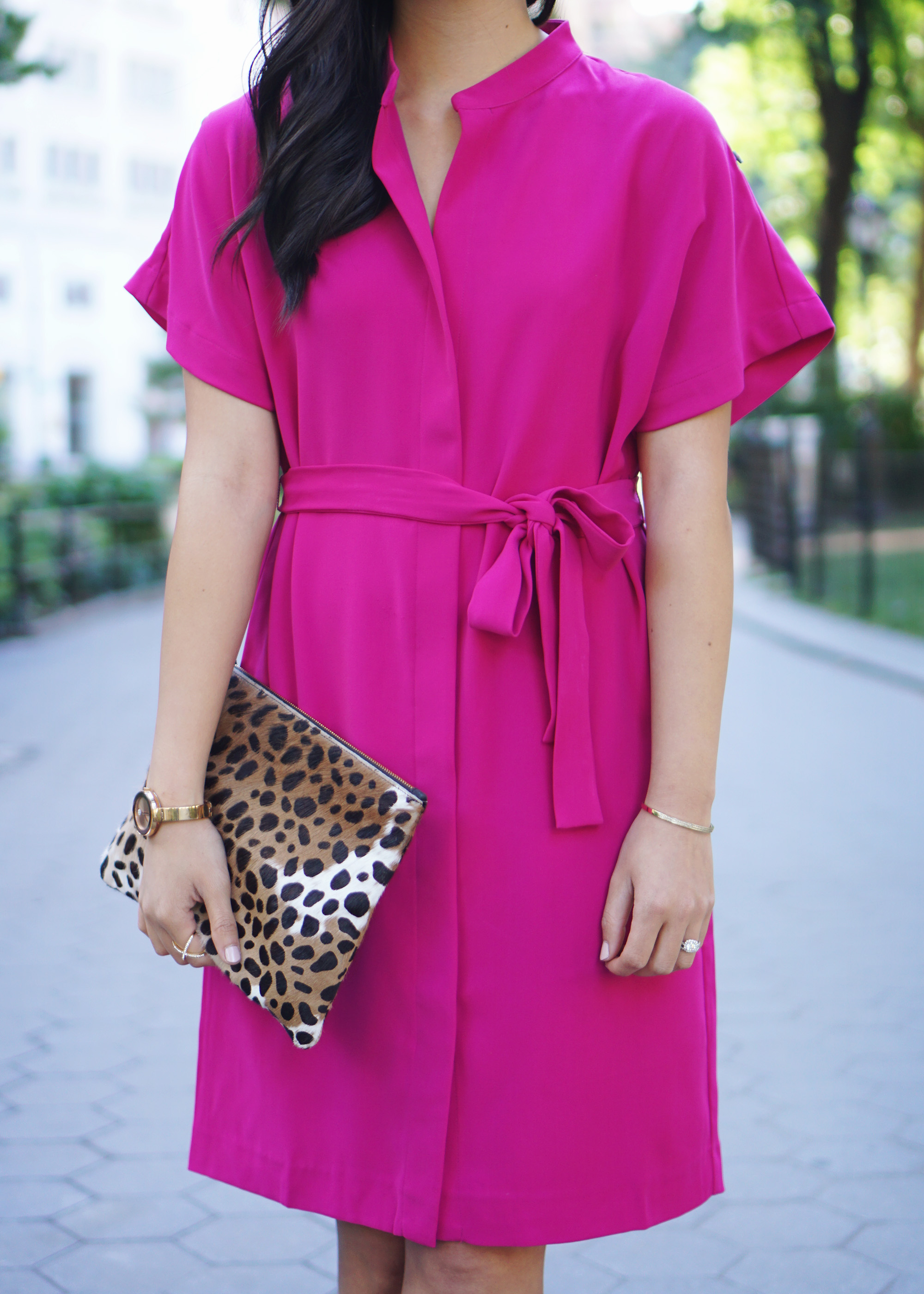 Bright Fuschia Dress and Leopard Clutch