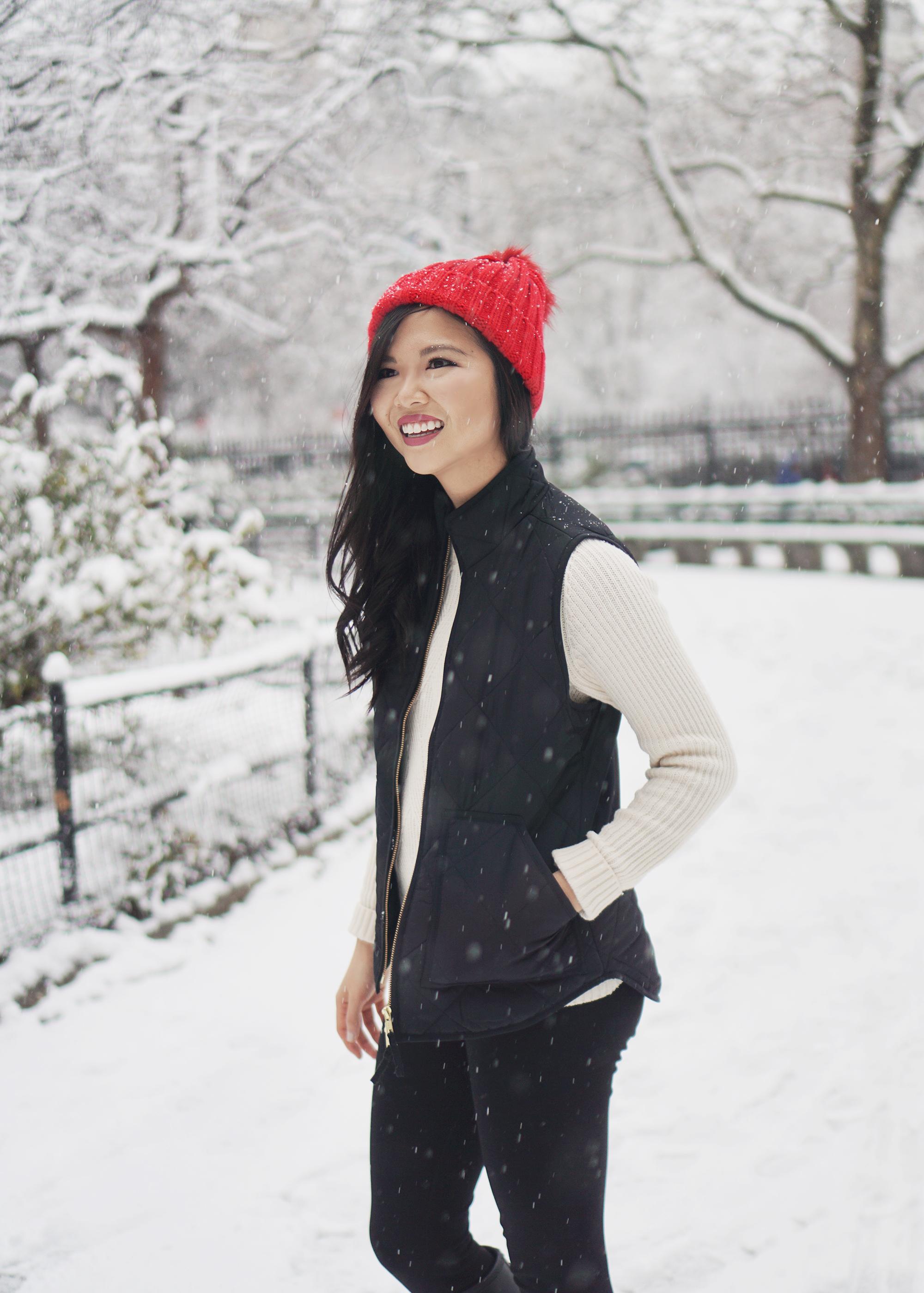 Winter Fashion Inspiration: Puffer Vest & Pom Pom Beanie