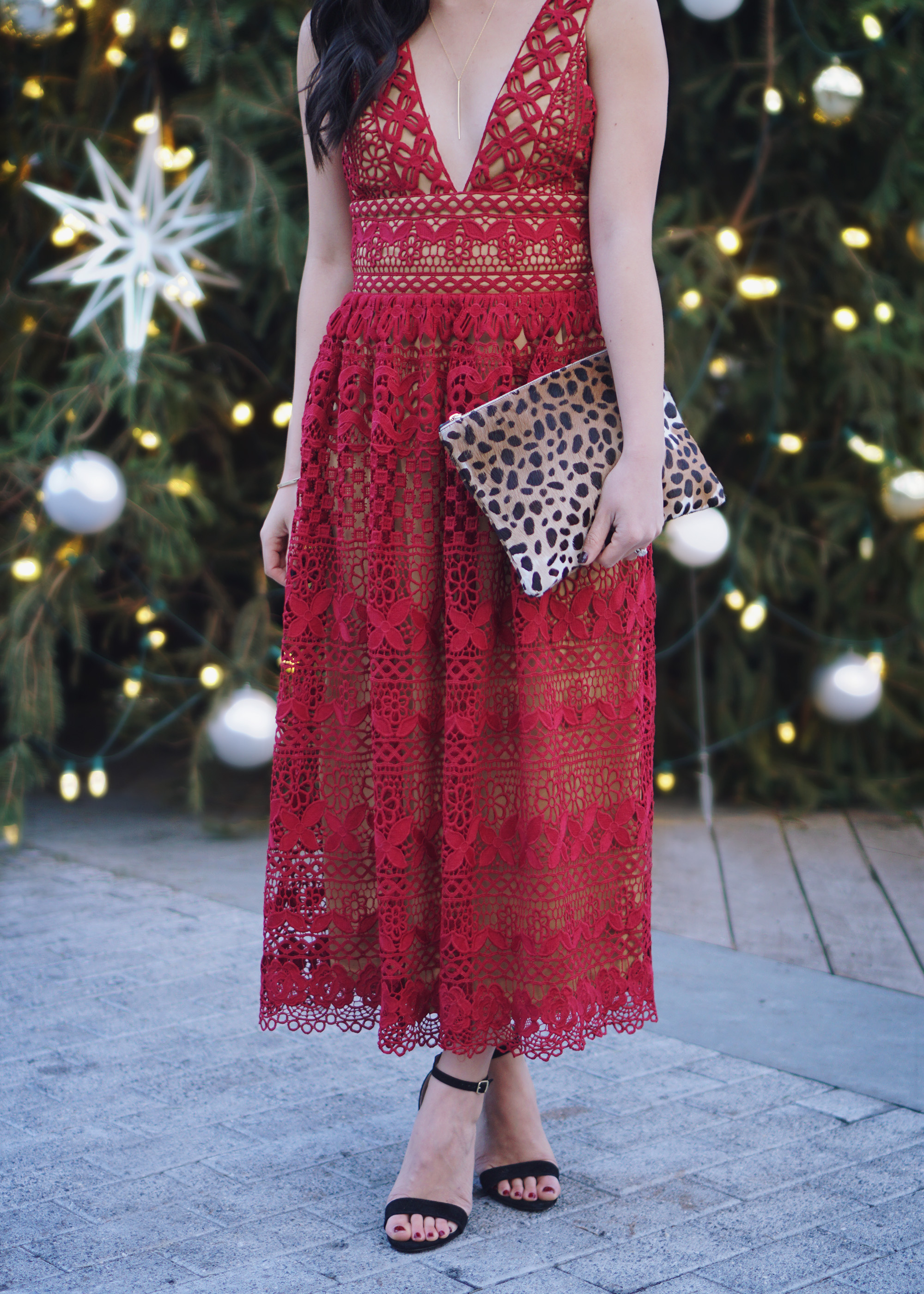 Holiday Party Outfit Ideas: Red Lace Dress