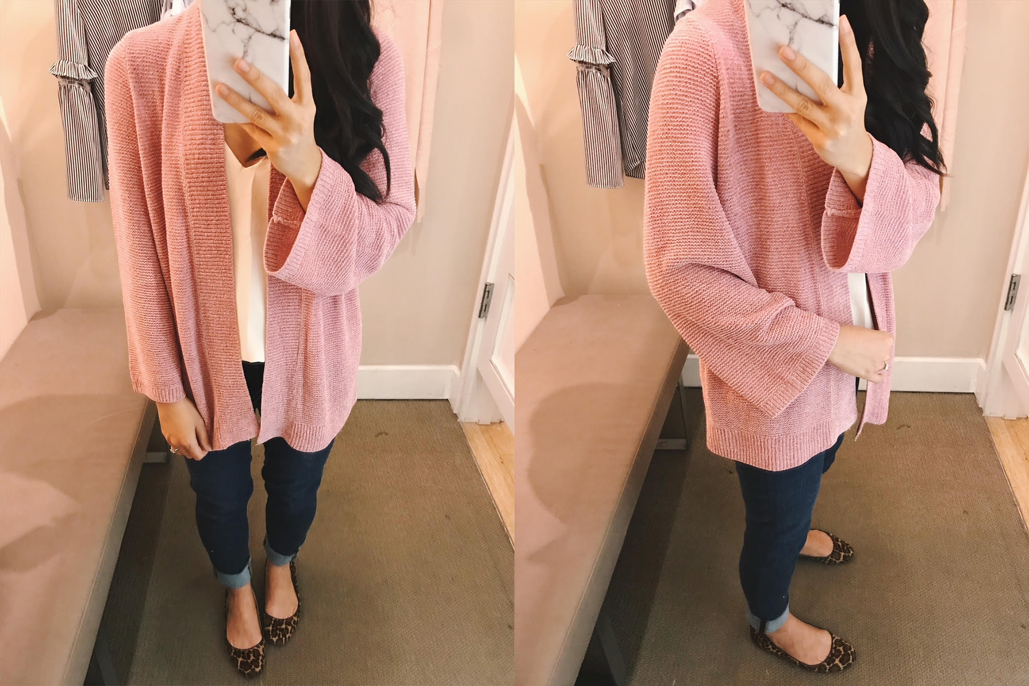 LOFT Pink Chenille Cardigan with Bell Sleeves