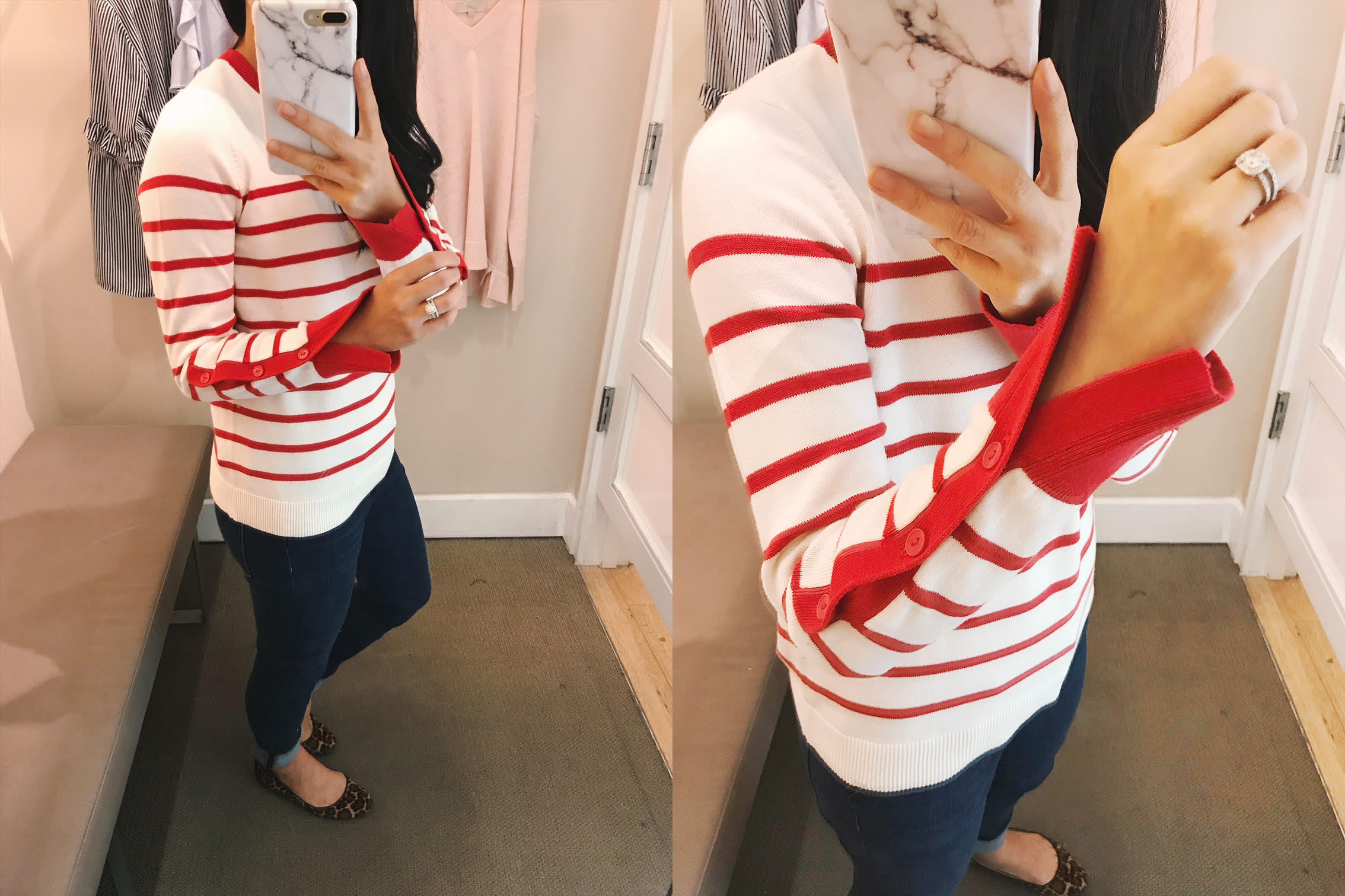 Red and White Striped Sweater