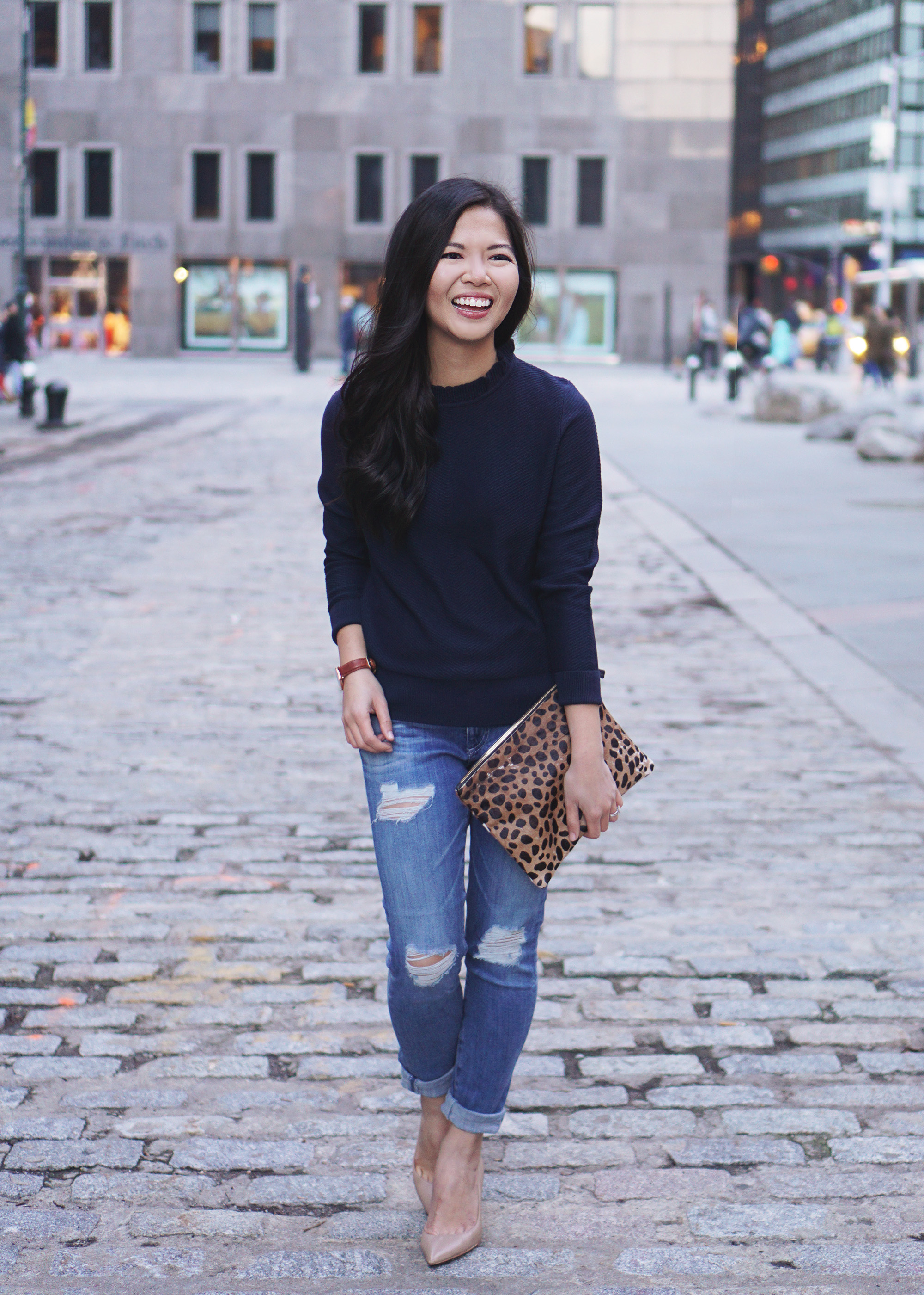 Spring Transition Outfit / Navy Sweater & Ripped Jeans