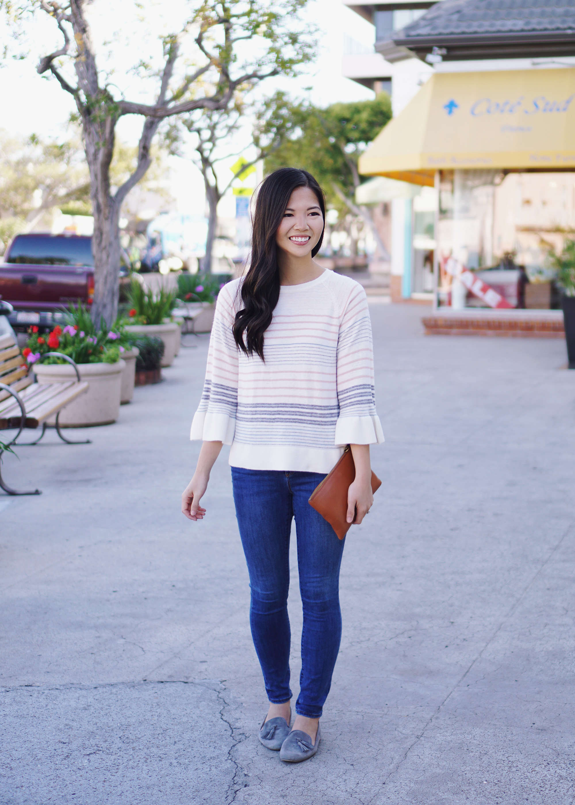Spring Outfit / Pastel Striped Sweater & Skinny Jean