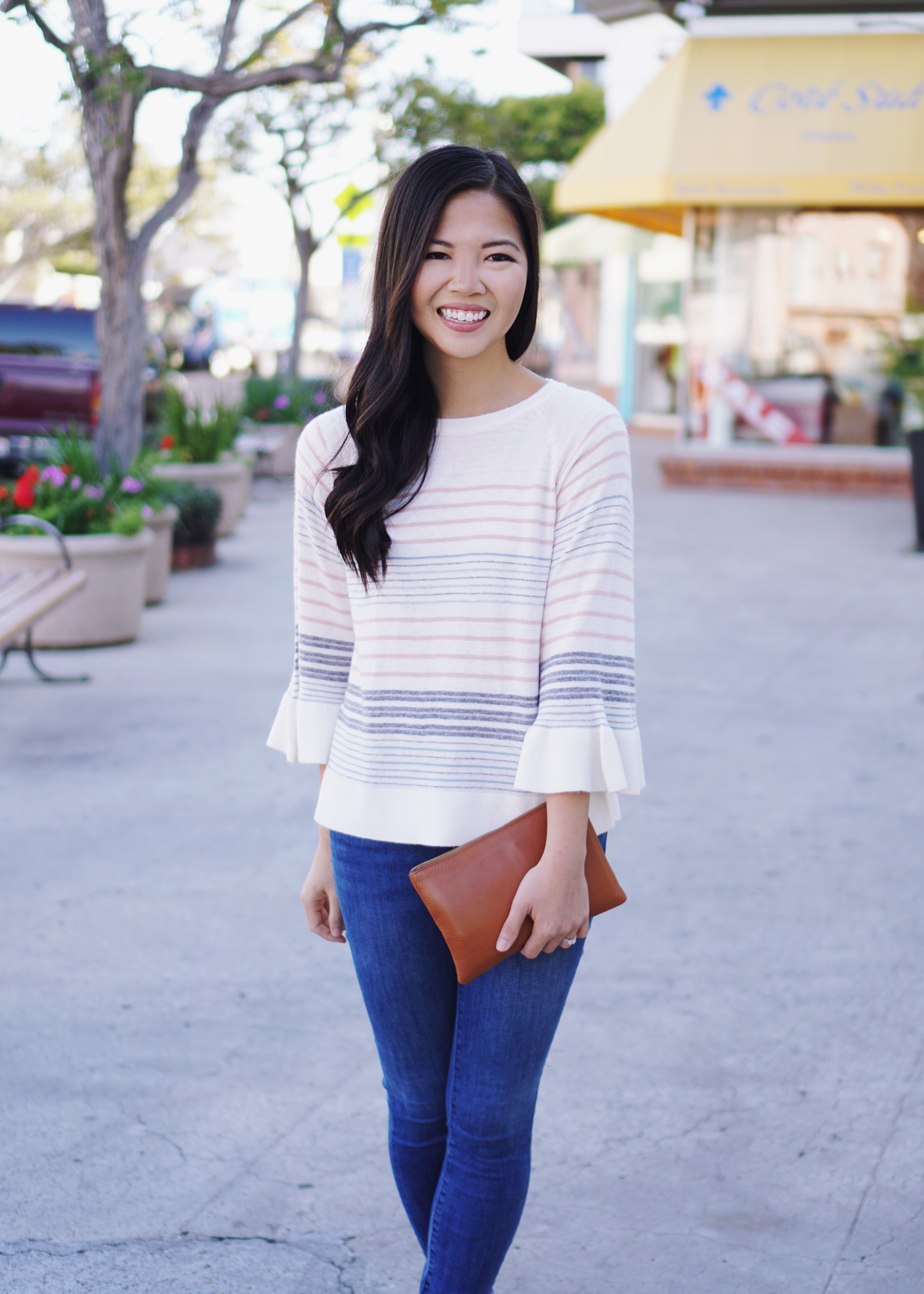 Spring Outfit Ideas / Striped Bell Sleeve Sweater