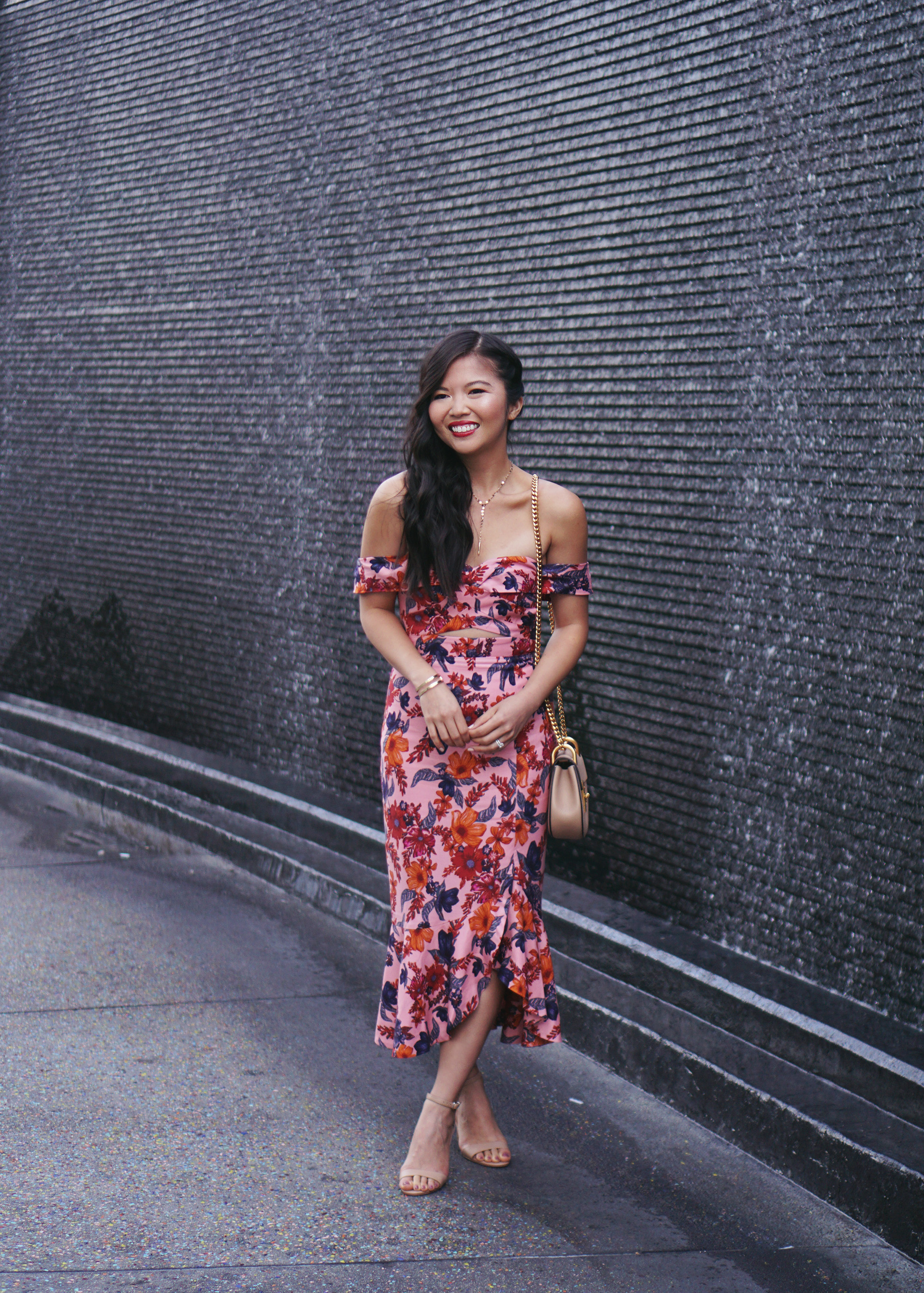Floral Trumpet Dress & Chloe Mini Drew Bag