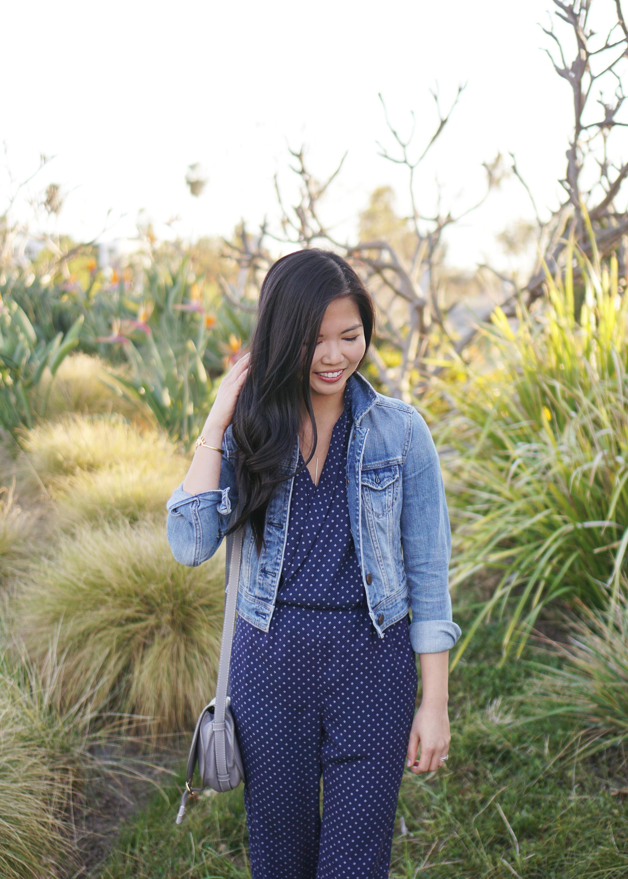 Spring Outfit Idea / JCrew Navy Jumpsuit & Denim Jacket