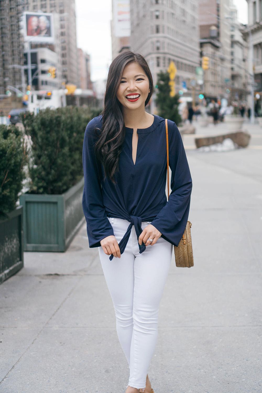 Spring Style Inspiration / Navy Bellsleeve Top & White Skinny Jeans
