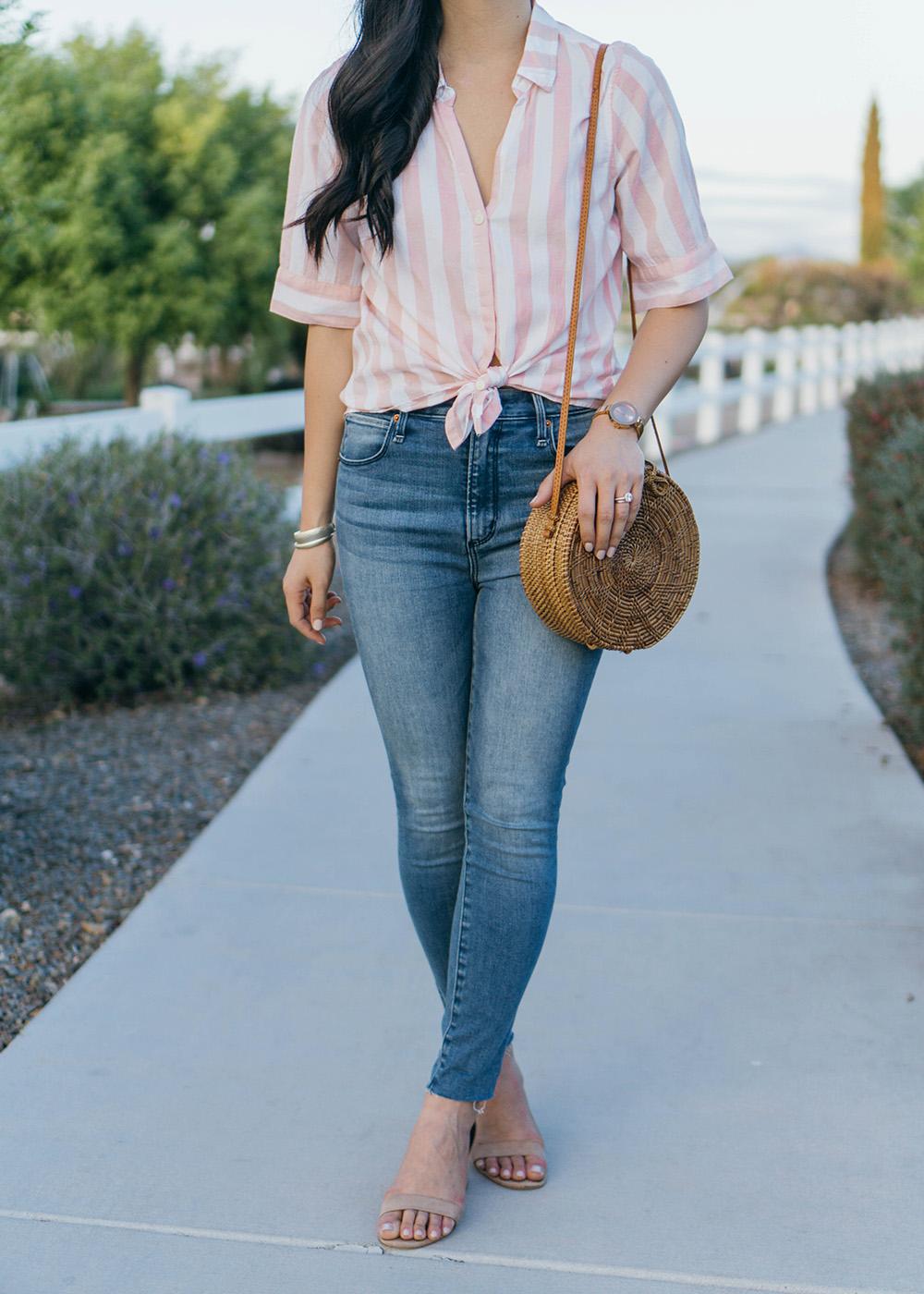 Spring Style Inspiration / Striped Shirt & Skinny Jeans