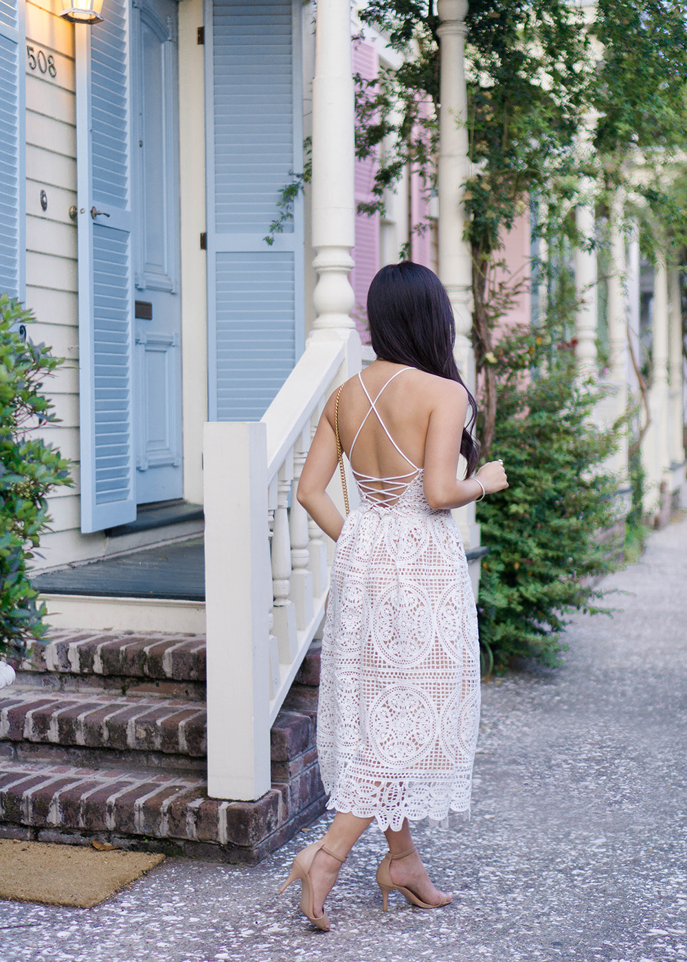 Spring Style Inspiration / White Lace Up Dress