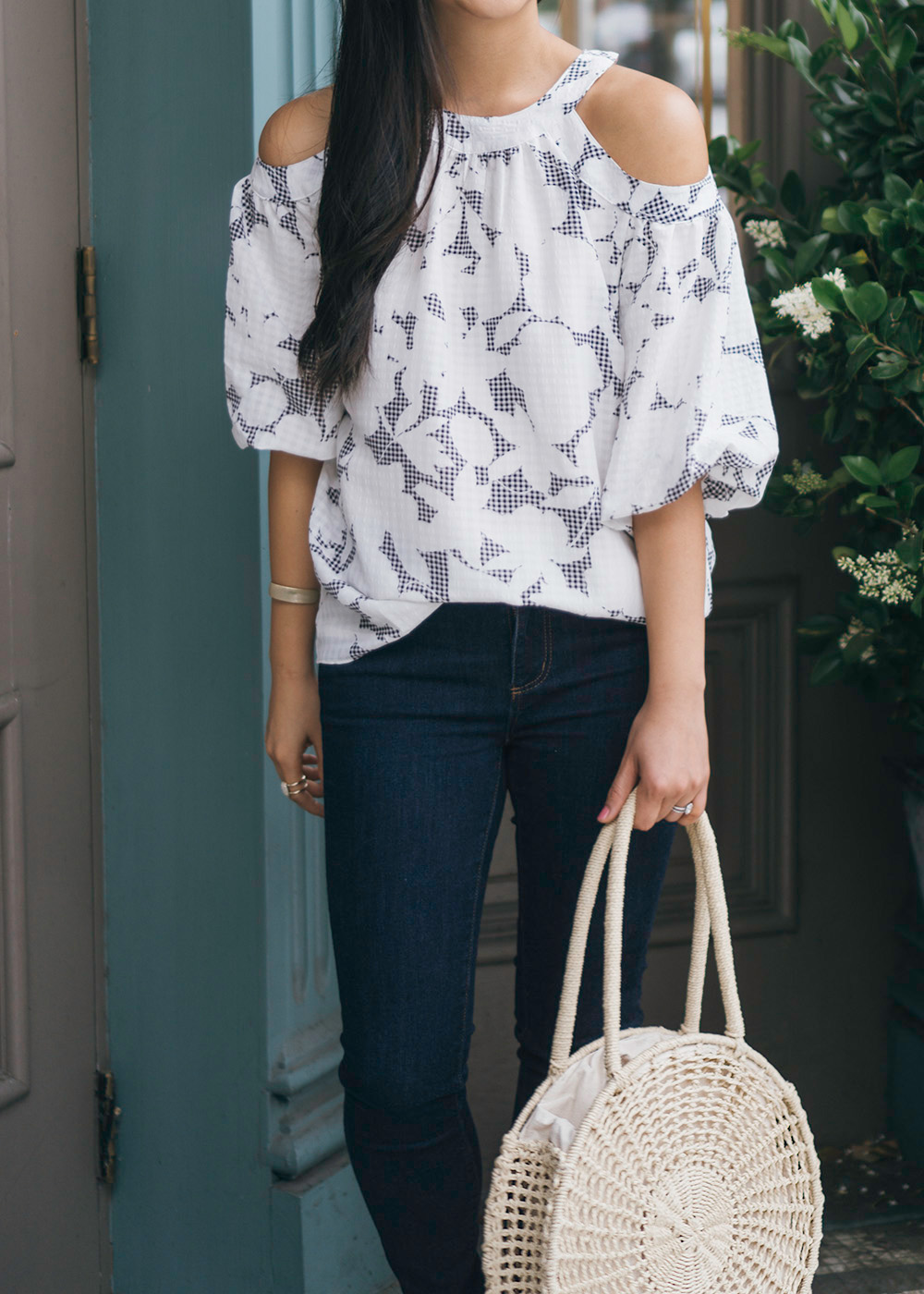 Floral Cold Shoulder Top & Dark Blue Skinny Jeans