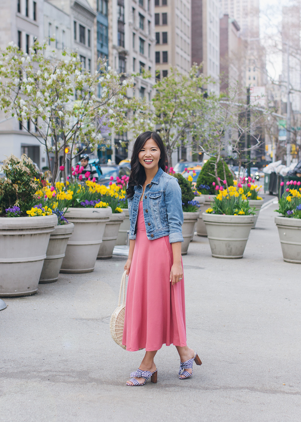 Casual Spring Outfit / Pink Dress & Denim Jacket