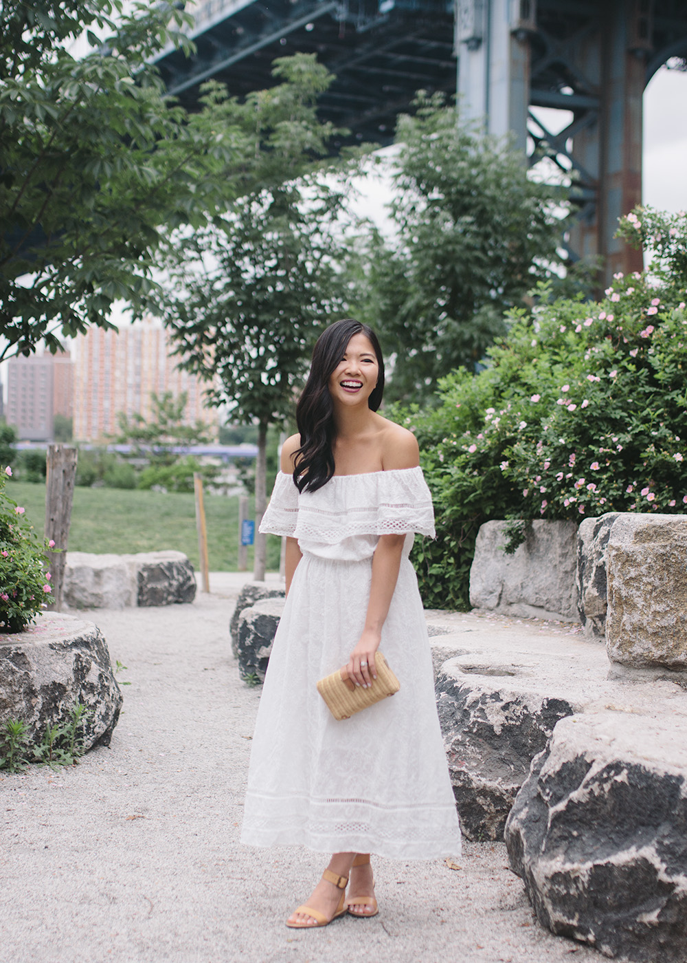 Summer Fashion / White Off the Shoulder Maxi Dress