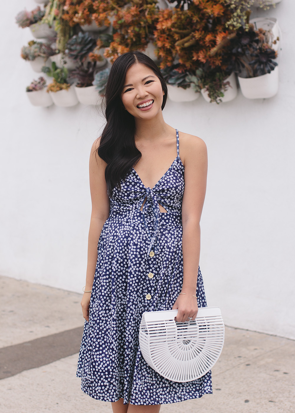 Summer Style / Navy Floral Tie Front Dress