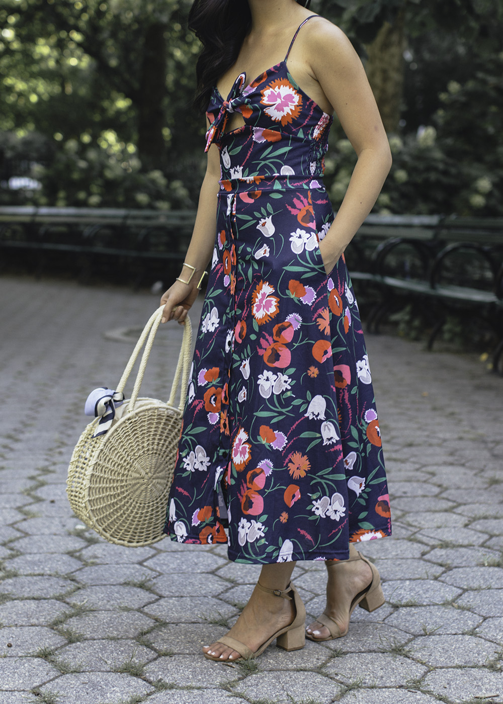 Summer Style / Navy & Pink Floral Dress with Pockets