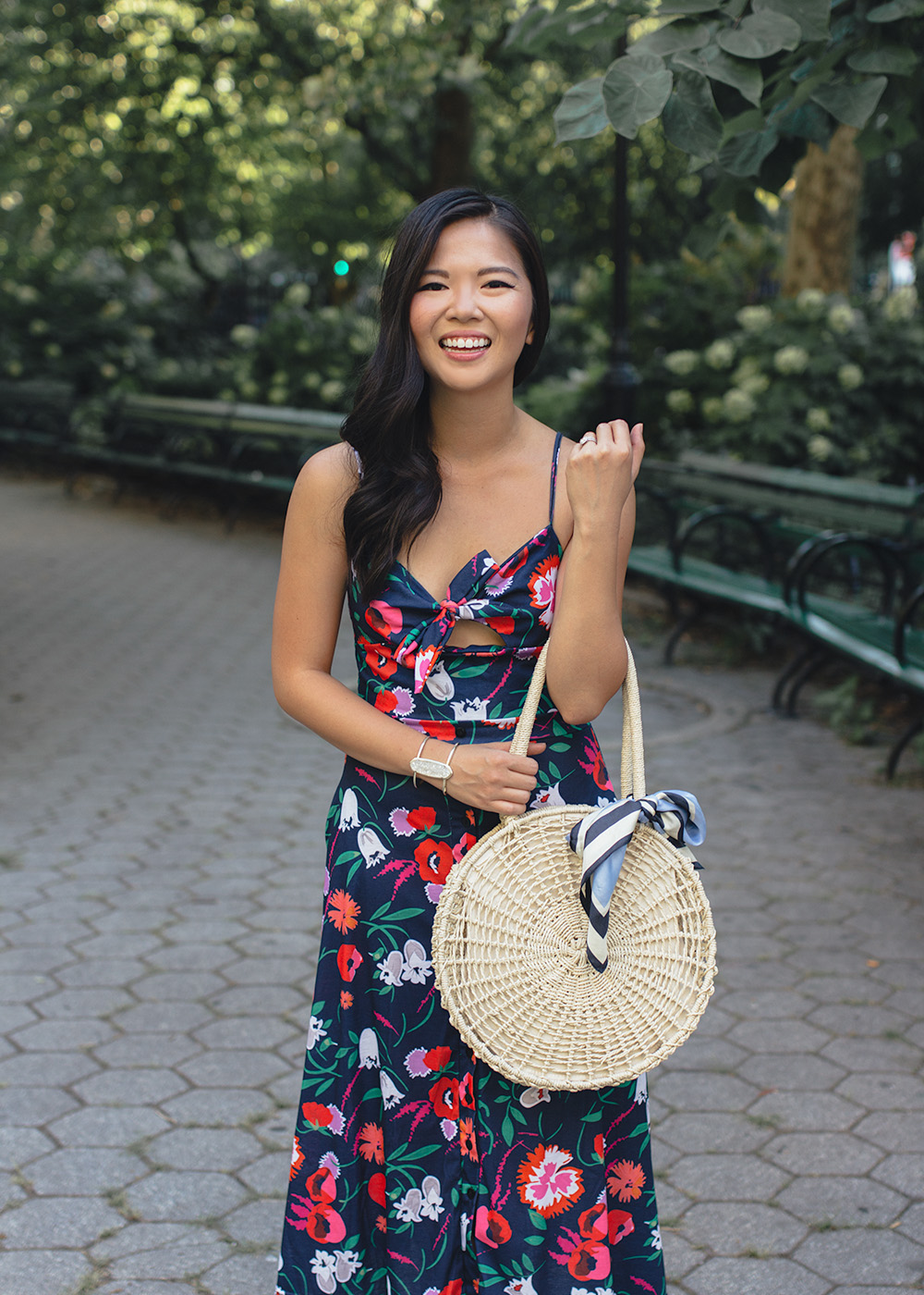 Summer Style / Floral Dress and Straw Circle Bag