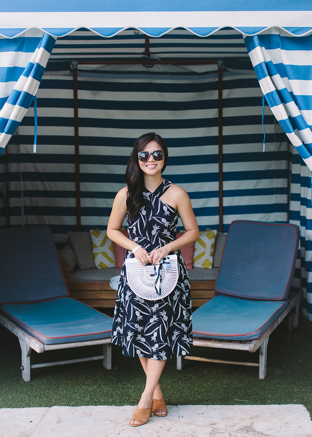 Summer Style / Pineapple Print Dress & White Bamboo Bag