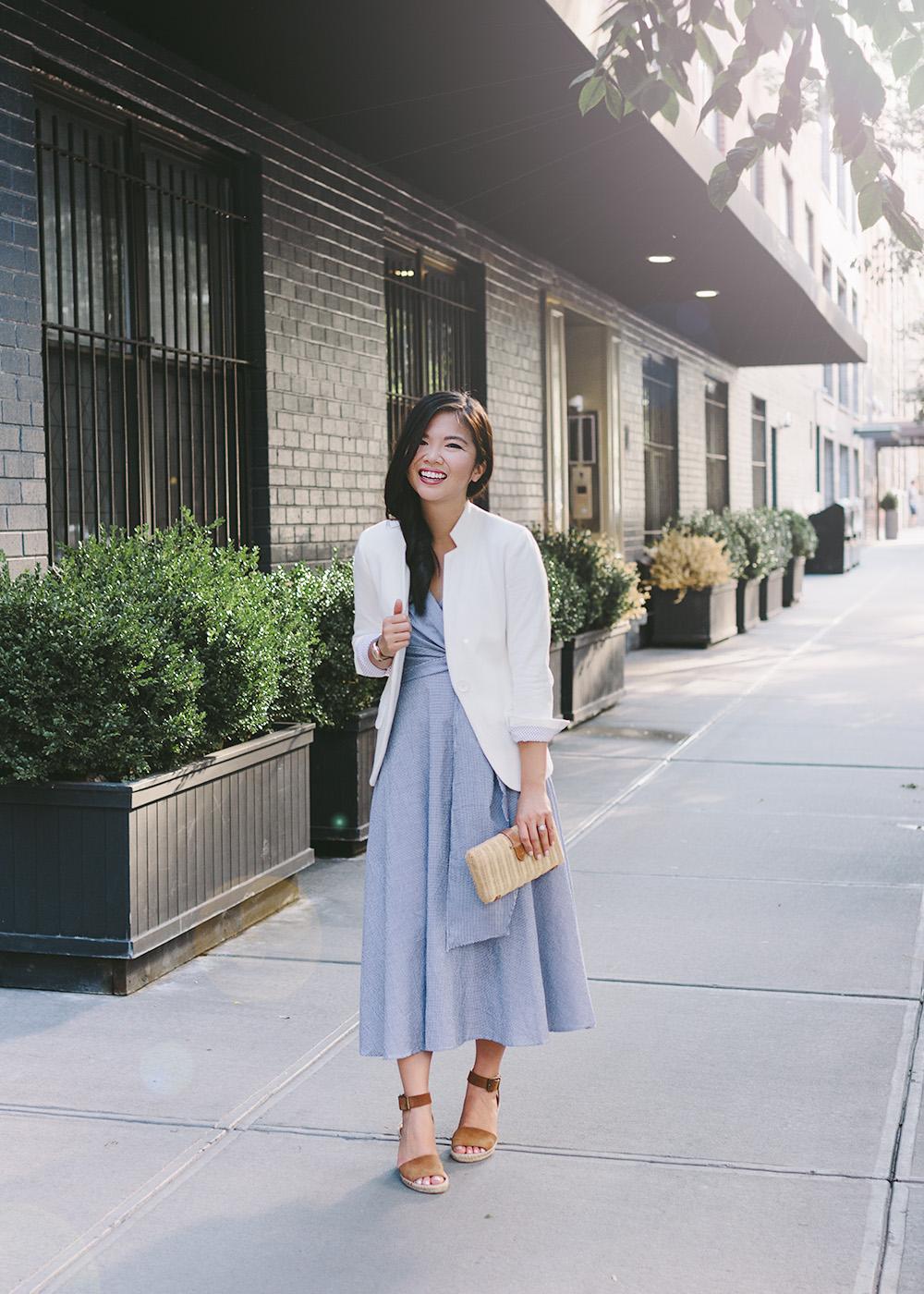 Gingham Wrap Dress & White Blazer