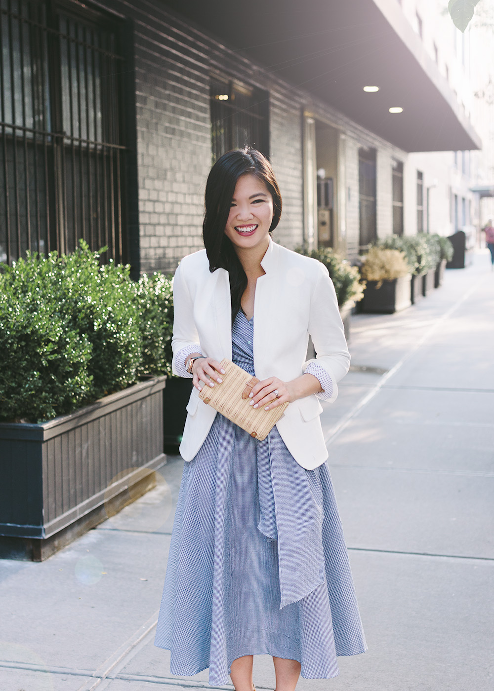 Summer Style / Gingham Wrap Dress & White Blazer