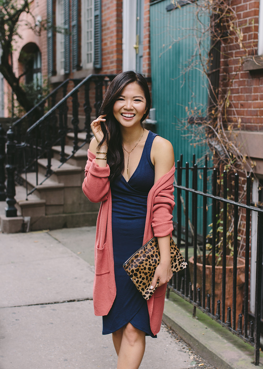 Fall Style Inspiration / Navy Dress & Dusty Rose Cardigan
