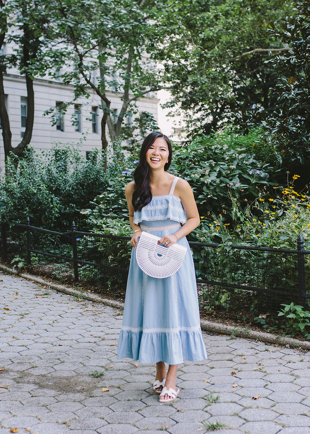 Chambray Maxi Dress & White Bamboo Bag