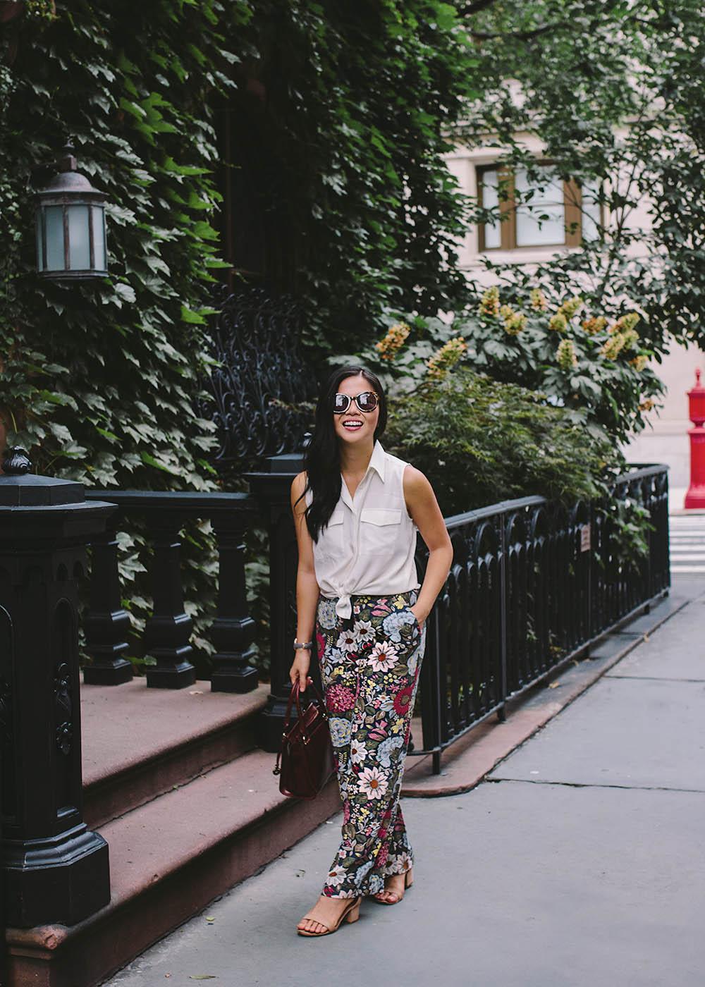 Fall Fashion Inspiration / Dark Floral Wide Leg Pants
