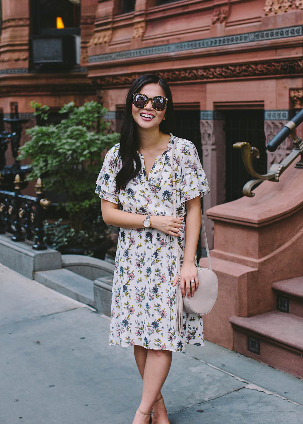 Summer Style / White Floral Dress & Circle Bag