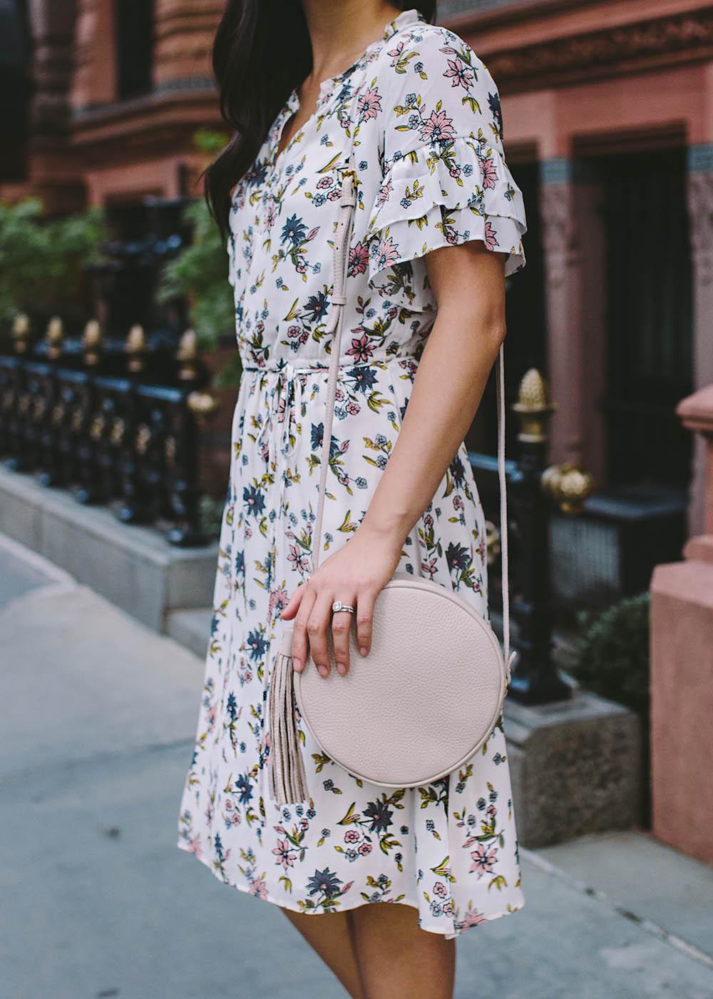 LOFT Wildflower Flounce Dress & GiGi New York Circle Bag