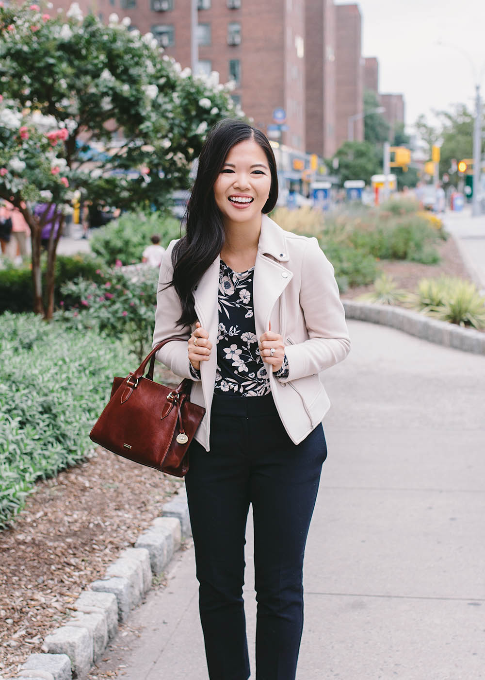 Work Outfit Inspiration / Blush Moto Jacket & Navy Slacks