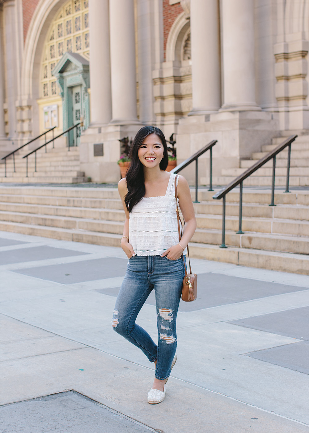 White Eyelet Crop Top & Ripped Skinny Jeans