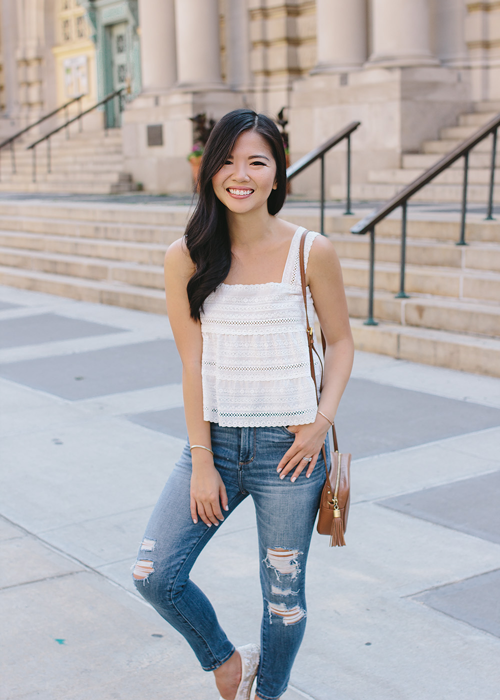 Weekend Style / White Eyelet Crop Top & Ripped Skinny Jeans