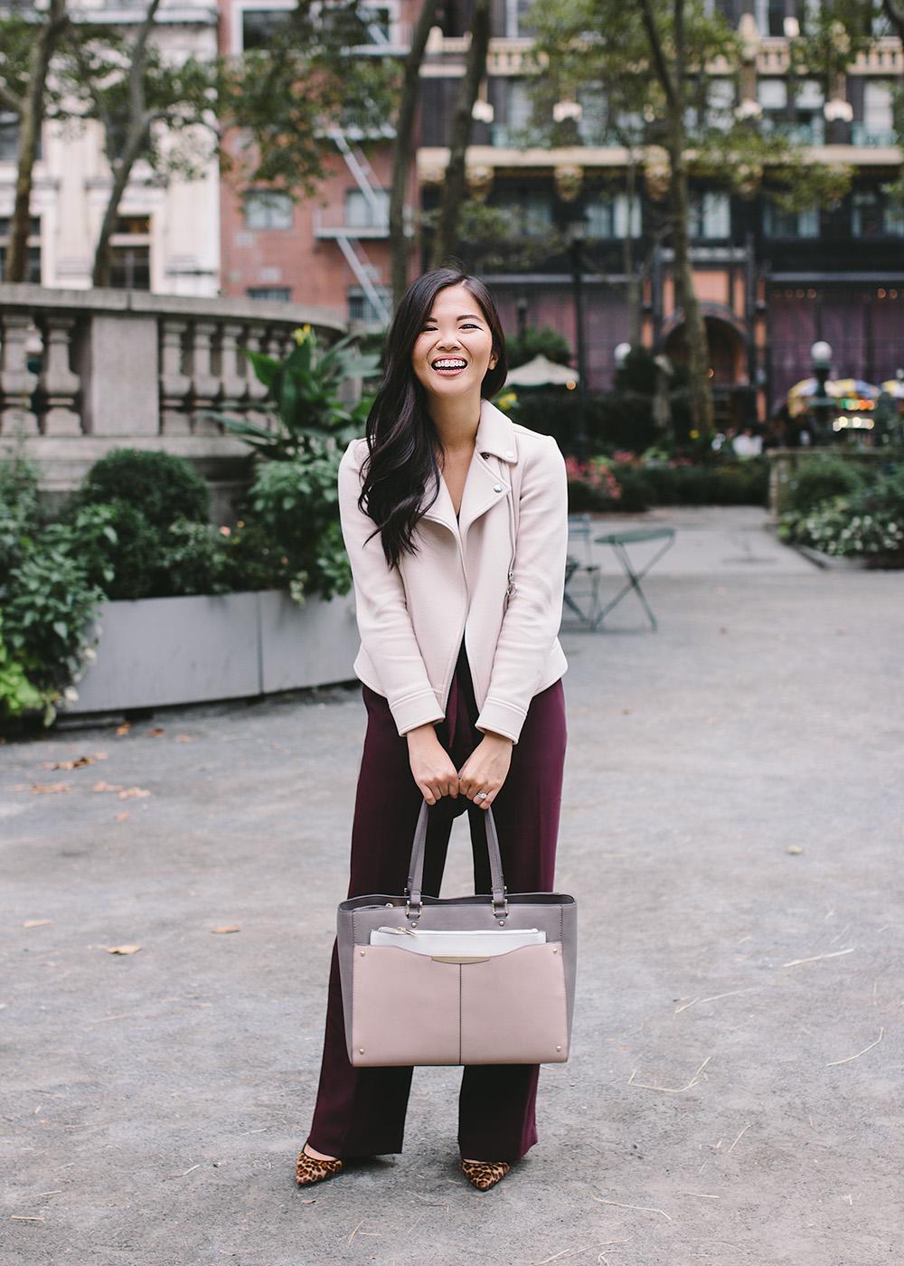 Fall Style / Burgundy Jumpsuit & Blush Moto Jacket